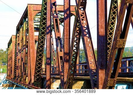 March 18, 2020 In Whittier, Ca:  Historical Railroad Bridge With Rusty Steel Trestles Built In 1901