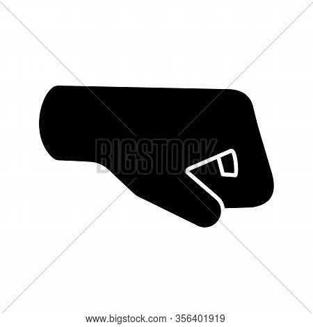 Right Fist Emoji Glyph Icon. Silhouette Symbol. Right-facing Fist. Fist-bump. Brofist. Negative Spac