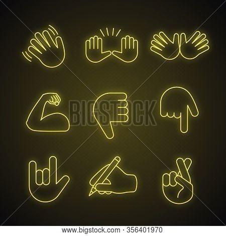 Hand Gesture Emojis Neon Light Icons Set. Waving, Stop, Jazz, Thumbs Down, Love You, Luck, Lie Gestu