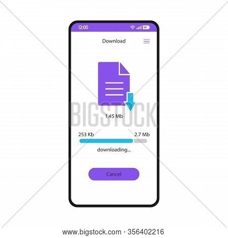 Download File Manager Smartphone Interface Vector Template. Mobile Storage App Page White Design Lay