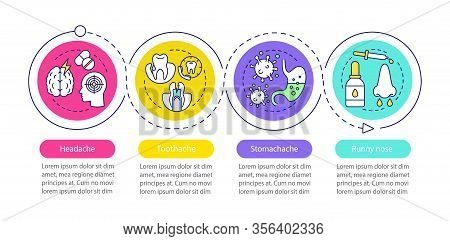 Sicknesses Vector Infographic Template. Headache, Toothache, Stomachache, Runny Nose. Data Visualiza