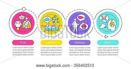 Deadly Sins Vector Infographic Template. Pride, Laziness, Gluttony, Anger. Business Presentation Des