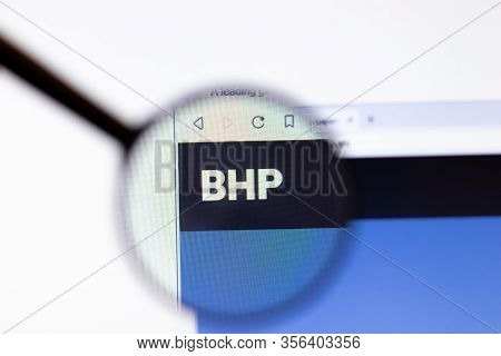 Los Angeles, California, Usa - 20 March 2020: Bhp Group Company Logo On Website Page Close-up On Scr