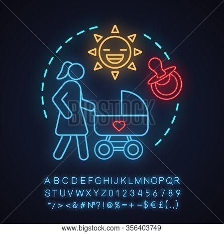 Outdoor Babysitting Neon Light Concept Icon. Activities, Parenting, Motherhood Idea. Mother Walking
