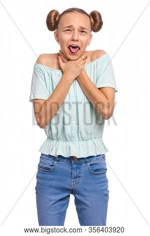 Emotional portrait of caucasian teen girl with hands on neck. Crazy child, isolated white background. Funny teenager choke sheself and clenching hands on neck. Negative emotions.