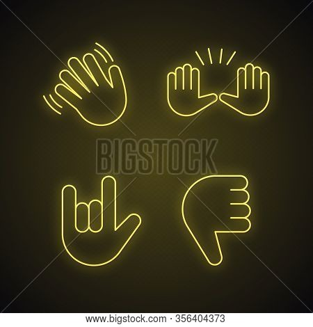 Hand Gesture Emojis Neon Light Icons Set. Hello, Goodbye, Stop, Love You, Disapproval Gesturing. Wav