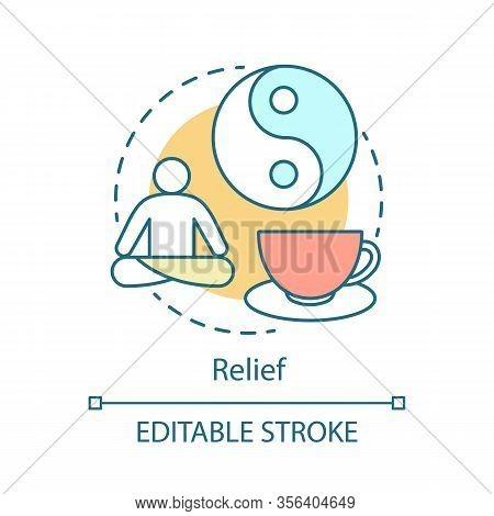 Relief Concept Icon. Facilitation Idea Thin Line Illustration. Yin Yang, Yoga Relax Meditation. Quie