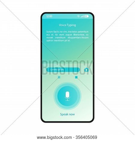 Voice Typing Smartphone Interface Vector Template. Mobile Utility App Page Blue Design Layout. Speec