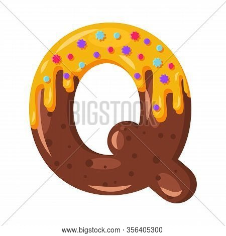 Donut Cartoon Q Letter Vector Illustration. Biscuit Bold Font Style. Glazed Capital Letter With Icin