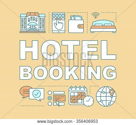 Hotel Booking Word Concepts Banner. Apartment Reservation. Choose Amenities, Dates. Presentation, We