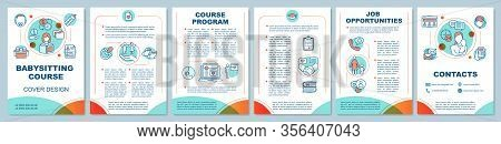 Babysitting Course In Bright Colors Brochure Template Layout. Childcare, Nanny School. Flyer, Bookle