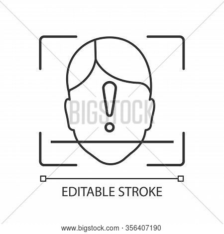 Face Id Scan Unidentified Linear Icon. Facial Recognition Thin Line Illustration. Face Scan Contour