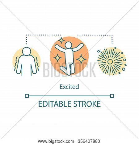 Excited Concept Icon. Excitement Feeling Idea Thin Line Illustration. Enthusiastic And Eager Person.