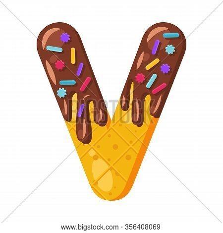 Donut Cartoon V Letter Vector Illustration. Biscuit Bold Font Style. Glazed Capital Letter With Icin