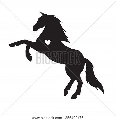 Vector Flat Black Horse Silhouette With Heart Isolated On White Background