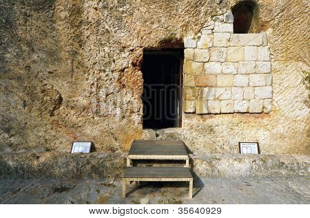 Garden Tomb in Jerusalem, Israel. The tomb is believed by some Christians to be the burial and resurection site of Jesus Christ.
