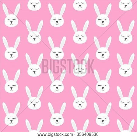 Vector Seamless Pattern Of Flat Cartoon White Rabbit Face Head Isolated On Pink Background
