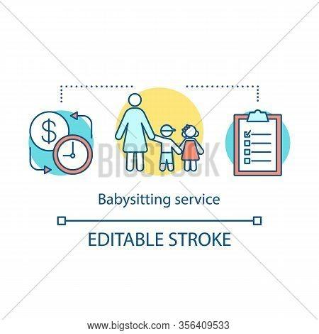 Babysitting Service Concept Icon. Childcare Assistance Idea Thin Line Illustration. Nanny, Babysitte