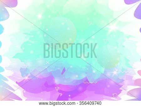 Cosmos Background With Abstract Holographic Landscape And Future Universe. Vibrant Mountain Silhouet