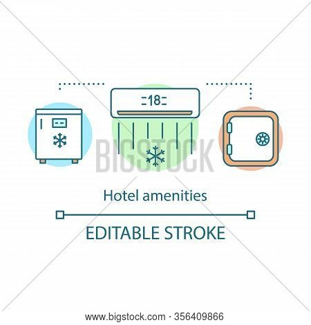 Hotel Amenities Concept Icon. Fridge, Air Conditioning, Safe. Room Service. Hotel Features Idea Thin