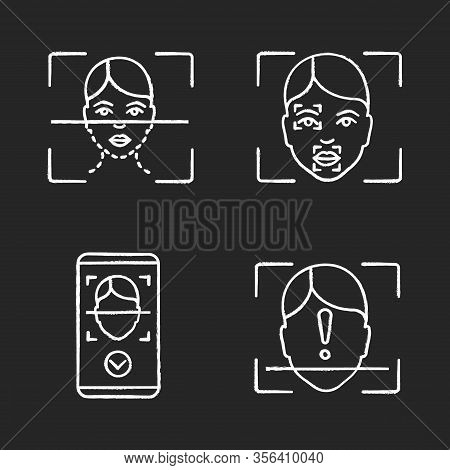 Facial Recognition Chalk Icons Set. Biometric Identification. Face Scanning Process, Markers And Poi