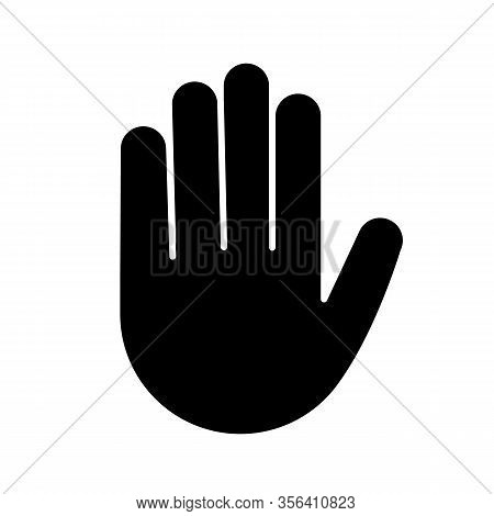 Raised Hand Glyph Icon. Silhouette Symbol. High Five Emoji. Stop Hand Gesture. Palm. Negative Space.