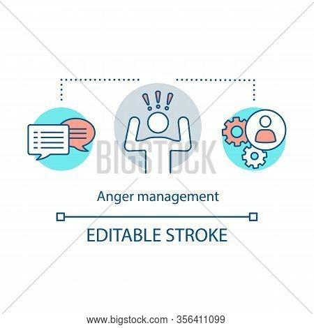 Anger Management Concept Icon. Composure Idea Thin Line Illustration. Ways To Control Negative Emoti