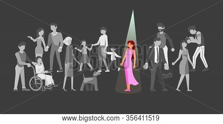 Gray Crowds Of Identical People Are Going. Illuminat Spotlight On One Individual Female Person. Meta