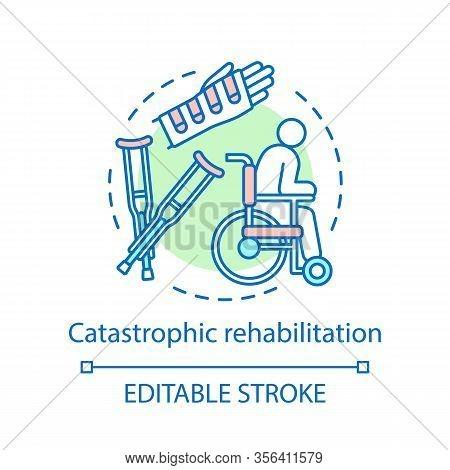 Catastrophic Rehabilitation Concept Icon. Recovery Idea Thin Line Illustration. Body Trauma, Injury