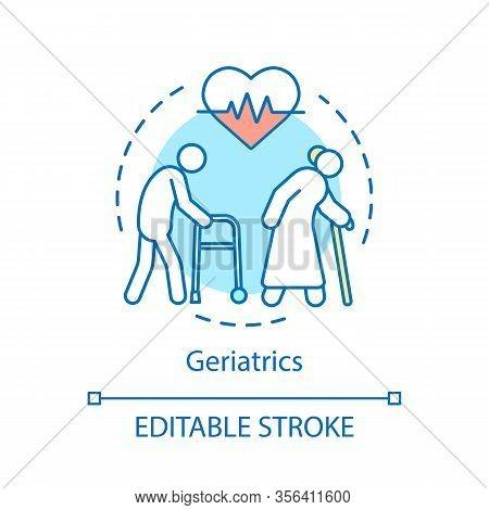 Geriatrics Concept Icon. Assisted Living, Nursing Home Idea Thin Line Illustration. Geriatric Medici