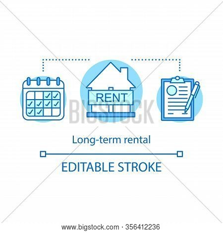 Long-term Rental Concept Icon. Tenancy Period. Property Agreement. Calendar, House, Contract. Real E
