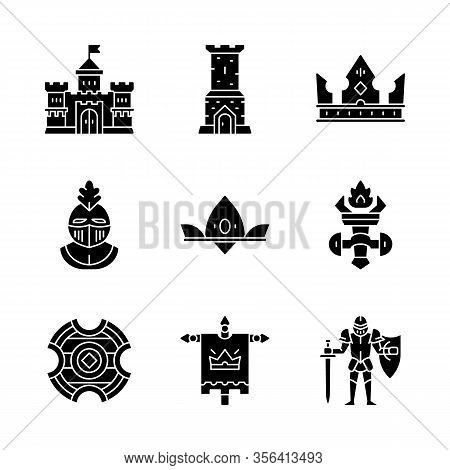 Medieval Glyph Icons Set. Kingdom, Castle Tower, King Crown, Knight Helmet, Queen Crown, Burning Tor