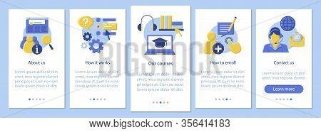 Online Courses Mobile App Page Screen Vector Template. Online Classes, School, Ecourses Information.