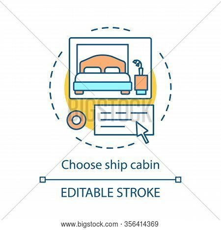 Ship Cabin Offer Concept Icon. Apartment Online Booking Idea Thin Line Illustration. Choose Cruise S