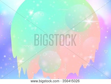 Cosmos Background With Abstract Holographic Landscape And Future Universe. Futuristic Gradient And S