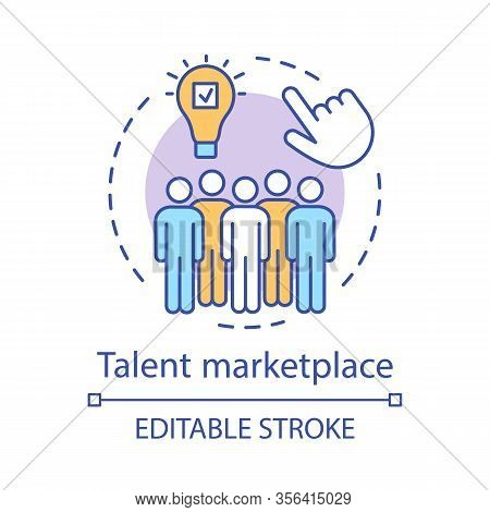 Talent Marketplace Concept Icon. Recruiting Process Idea Thin Line Illustration. Talent Acquisition