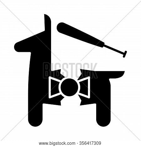 Pinata Glyph Icon. Horse Figure With Toys And Sweets. Silhouette Symbol. Negative Space. Vector Isol