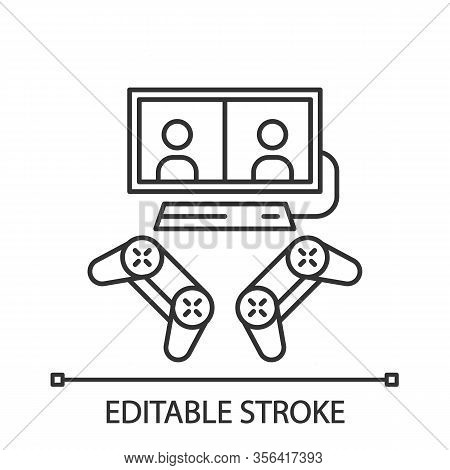 Video Games Linear Icon. Esports. Competition For Two Gamers. Gaming Devices. Split Screen, Multipla