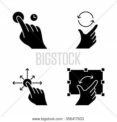 Touchscreen Gestures Glyph Icons Set. Touch And Hold, Zoom, Rotate Gesturing. Drag Finger All Direct