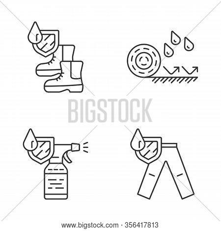 Waterproofing Linear Icons Set. Water Resistant Materials, Fabric. Waterproof Shoes, Flooring, Spray