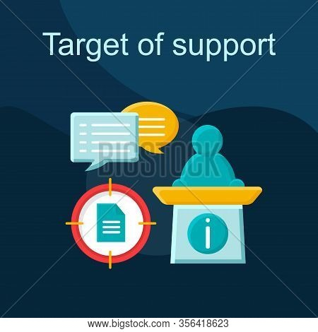 Target Of Support Flat Concept Vector Icon. Public Speaking Idea Cartoon Color Illustrations Set. Po