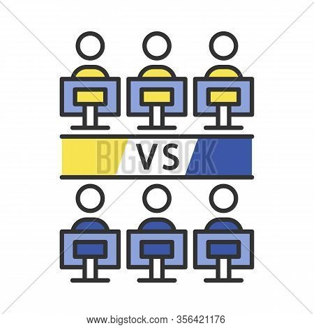 Round-robin Tournament Color Icon. Esports Competition. Video Games Championship. Competitors Play I