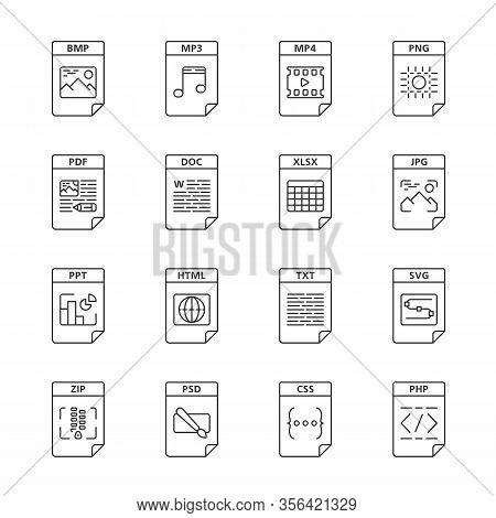 Files Format Linear Icons Set. Multimedia, Text, Web Digital Files. Mp3, Mp4, Png, Pdf, Doc, Xlsx, J