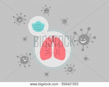 Sugical Mask Protect Lung And Trachea From Virus. Health Care Concept.