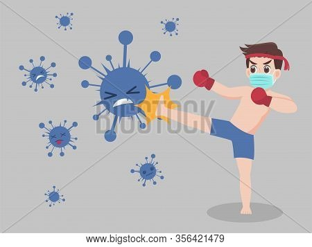 Man Fight Kick Virus Wearing A Surgical Protective Medical Mask For Prevent Virus Wuhan Covid-19.cor