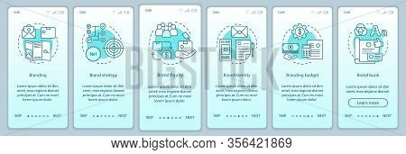 Branding Onboarding Mobile App Page Screen Vector Template. Brand Book Development. Brand Strategy,
