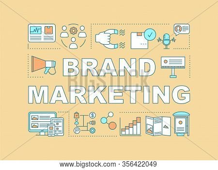 Brand Marketing Word Concepts Banner. Communications, Product, Service For Brand Equity Growing. Pre