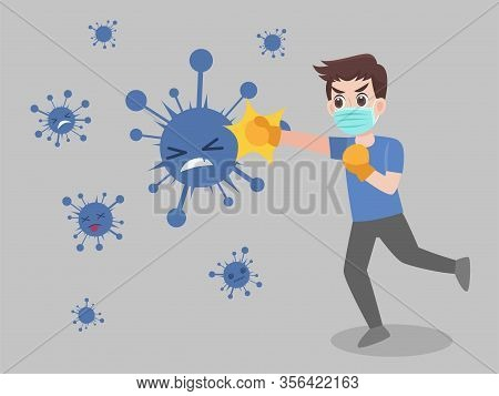 Man Fight Punch Virus Wearing A Surgical Protective Medical Mask For Prevent Virus Wuhan Covid-19.co