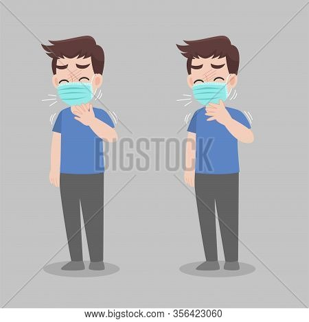 Man With Different Diseases Symptoms - Fever, Cough, Snot. Wearing A Surgical Protective Medical Mas