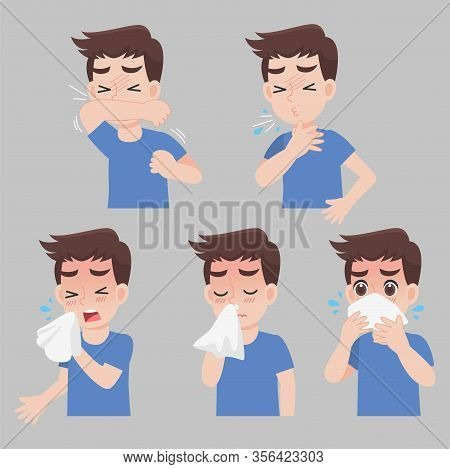 Set Of Man With Different Diseases Symptoms - Sneeze, Snot, Cough, Fever, Sick, Ill, Cartoon Charact